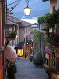 Shopping Street at Dusk Bellagio Lake Como Lombardy Italy Europe
